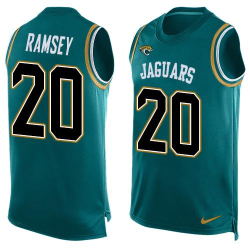 Nike Jaguars #20 Jalen Ramsey Teal Green Team Color Men's Stitched NFL Limited Tank Top Jersey